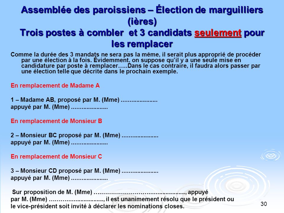 Assemblée des paroissiens – Élection de marguilliers (ières) Trois postes à combler et 3 candidats seulement pour les remplacer