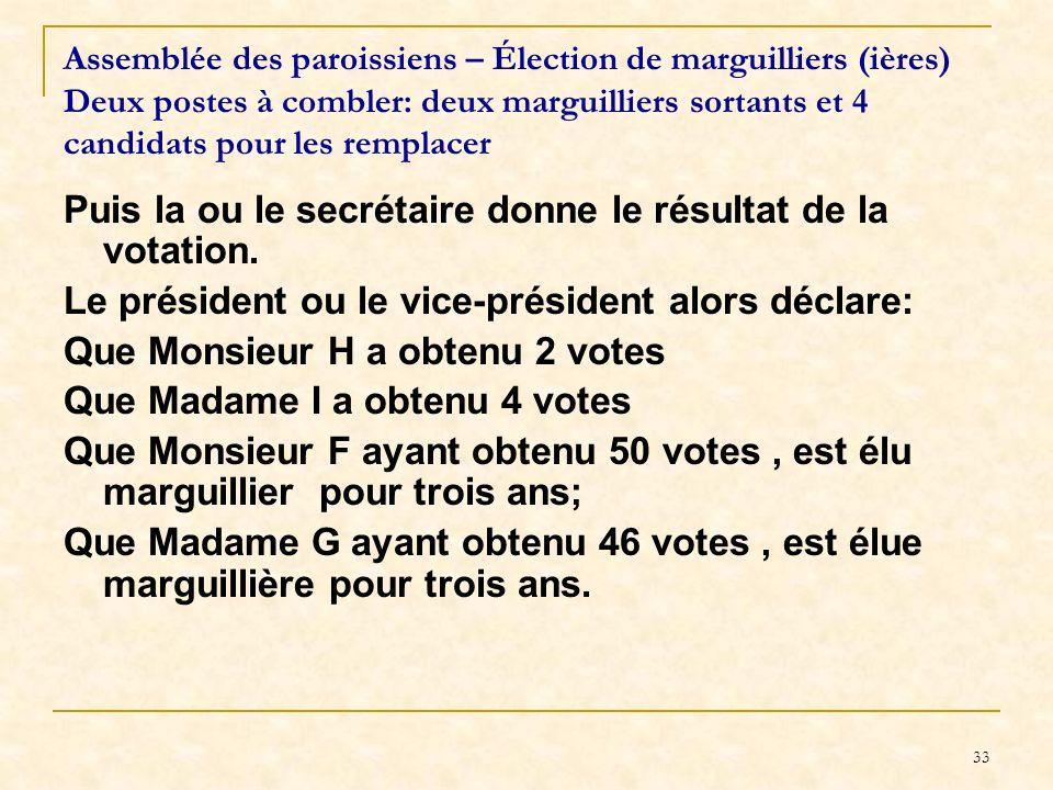 Puis la ou le secrétaire donne le résultat de la votation.