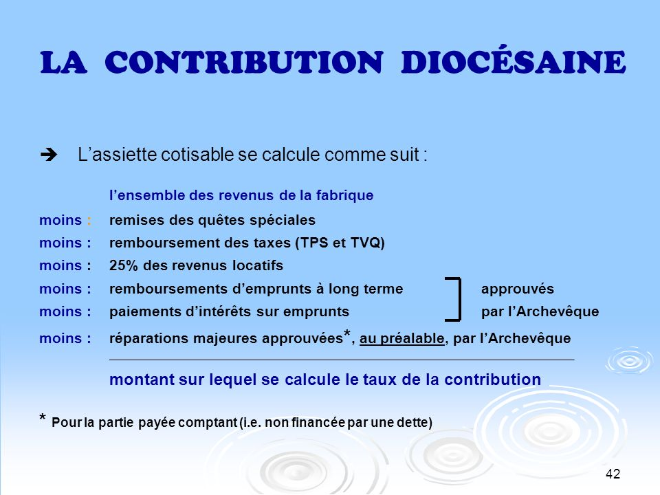 LA CONTRIBUTION DIOCÉSAINE