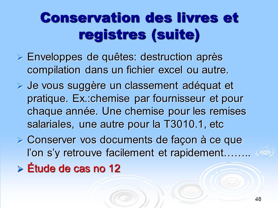 Conservation des livres et registres (suite)