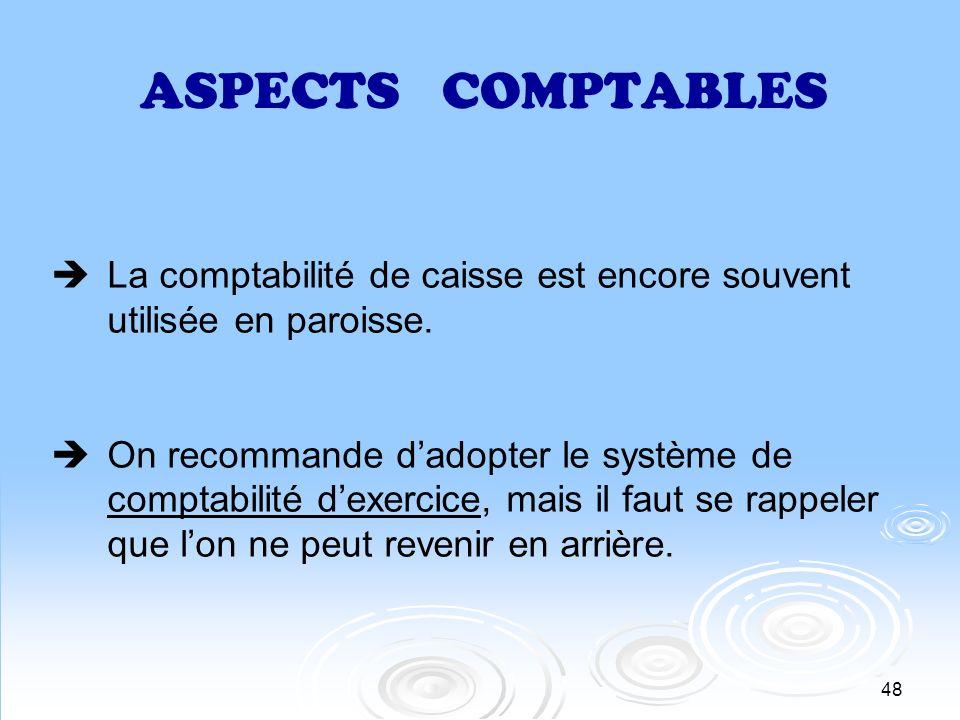 ASPECTS COMPTABLES La comptabilité de caisse est encore souvent utilisée en paroisse.