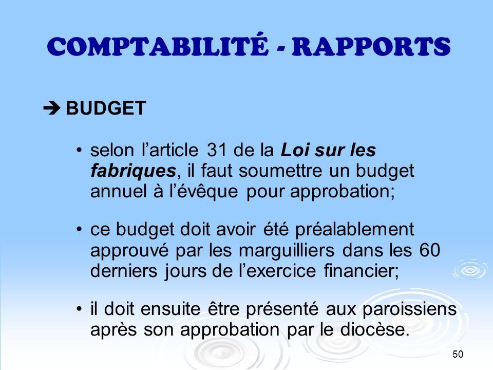 COMPTABILITÉ - RAPPORTS