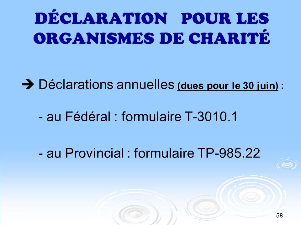 DÉCLARATION POUR LES ORGANISMES DE CHARITÉ