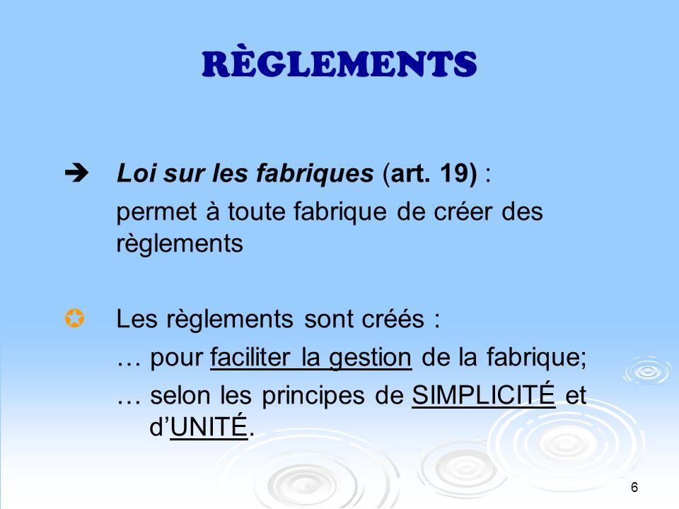 RÈGLEMENTS Loi sur les fabriques (art. 19) :