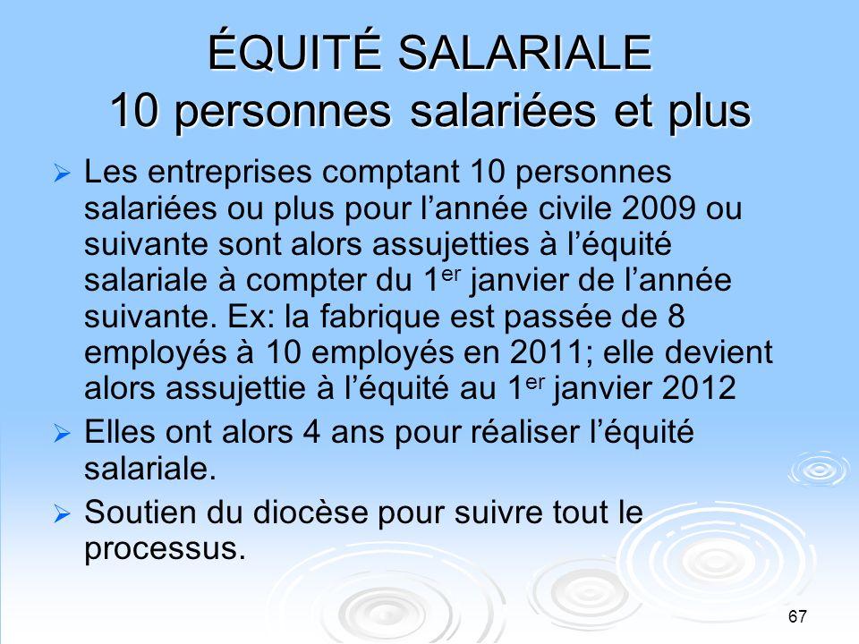 ÉQUITÉ SALARIALE 10 personnes salariées et plus