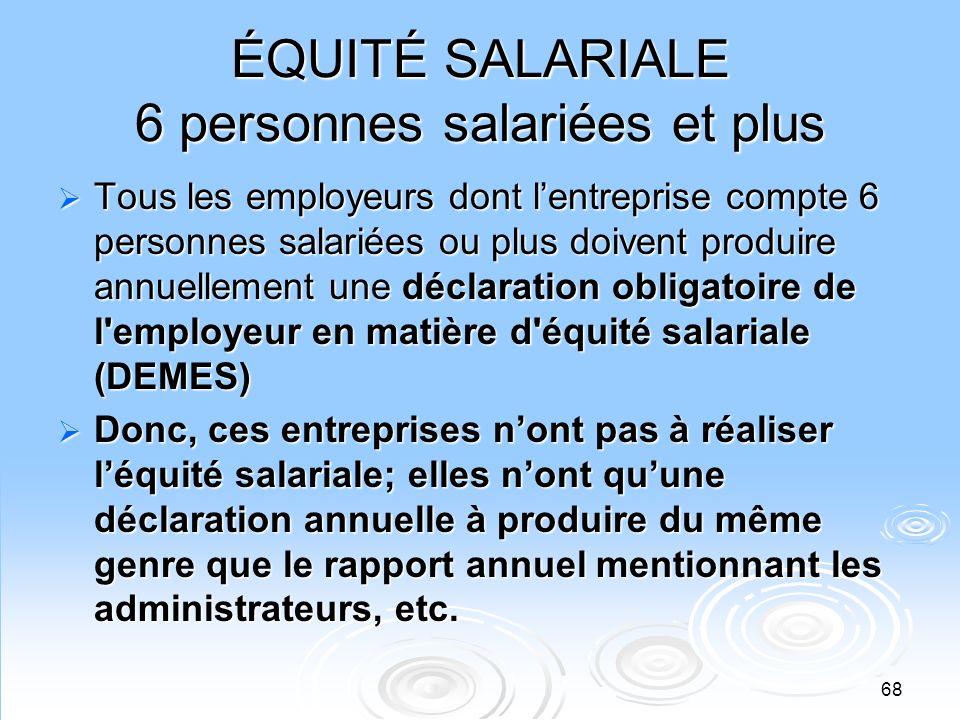 ÉQUITÉ SALARIALE 6 personnes salariées et plus