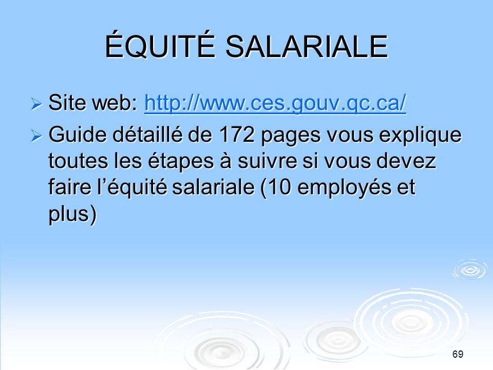 ÉQUITÉ SALARIALE Site web: http://www.ces.gouv.qc.ca/