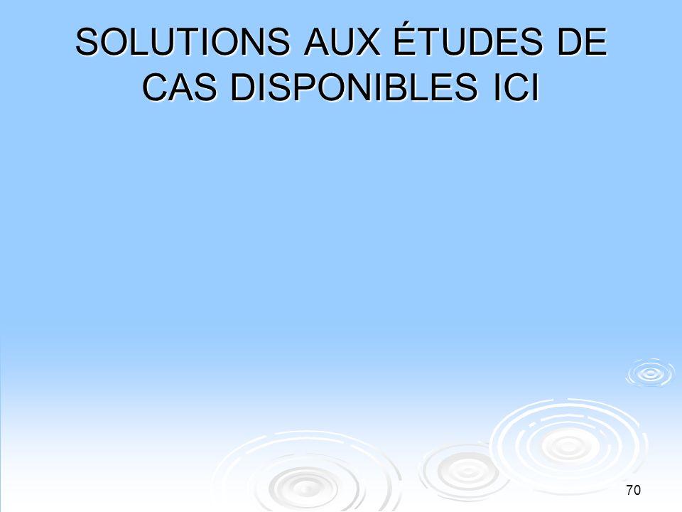 SOLUTIONS AUX ÉTUDES DE CAS DISPONIBLES ICI