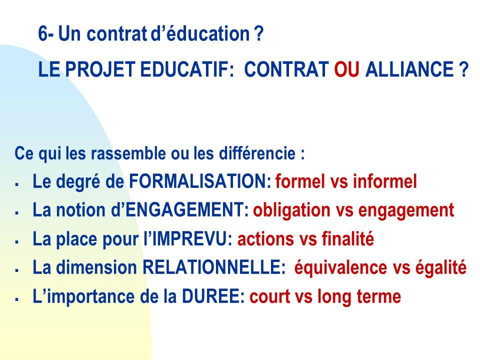 6- Un contrat d'éducation LE PROJET EDUCATIF: CONTRAT OU ALLIANCE