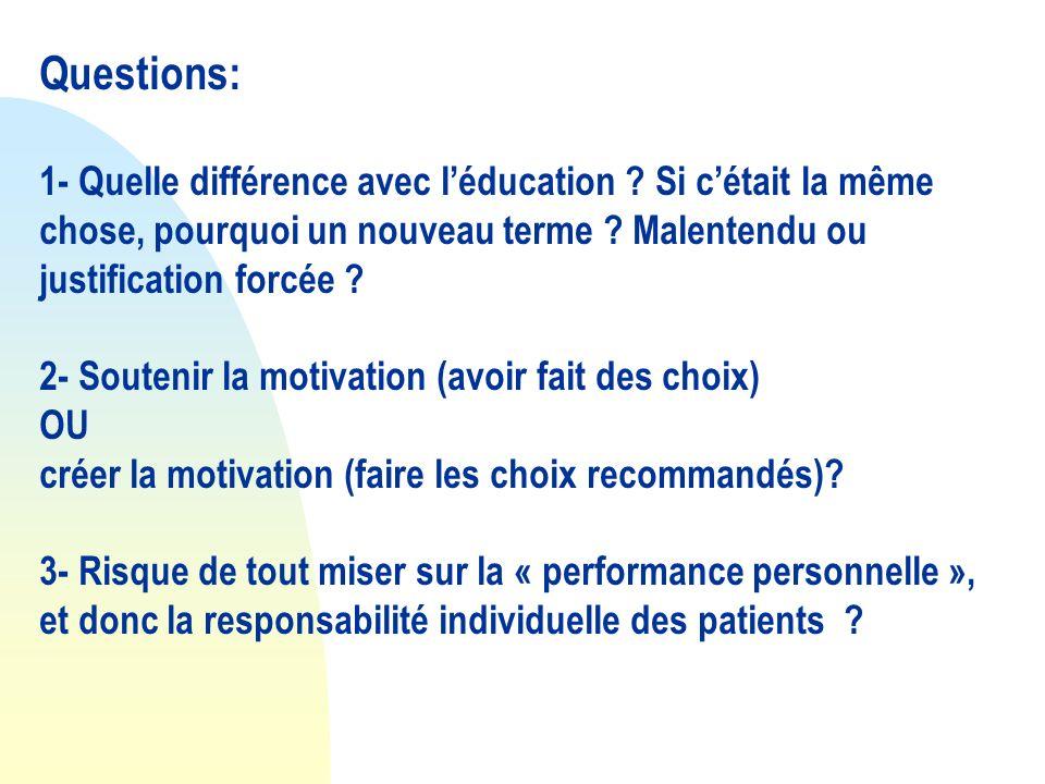Questions: 1- Quelle différence avec l'éducation Si c'était la même chose, pourquoi un nouveau terme Malentendu ou justification forcée