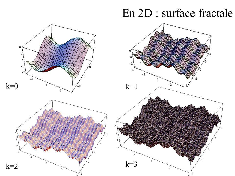 En 2D : surface fractale k=0 k=1 k=3 k=2