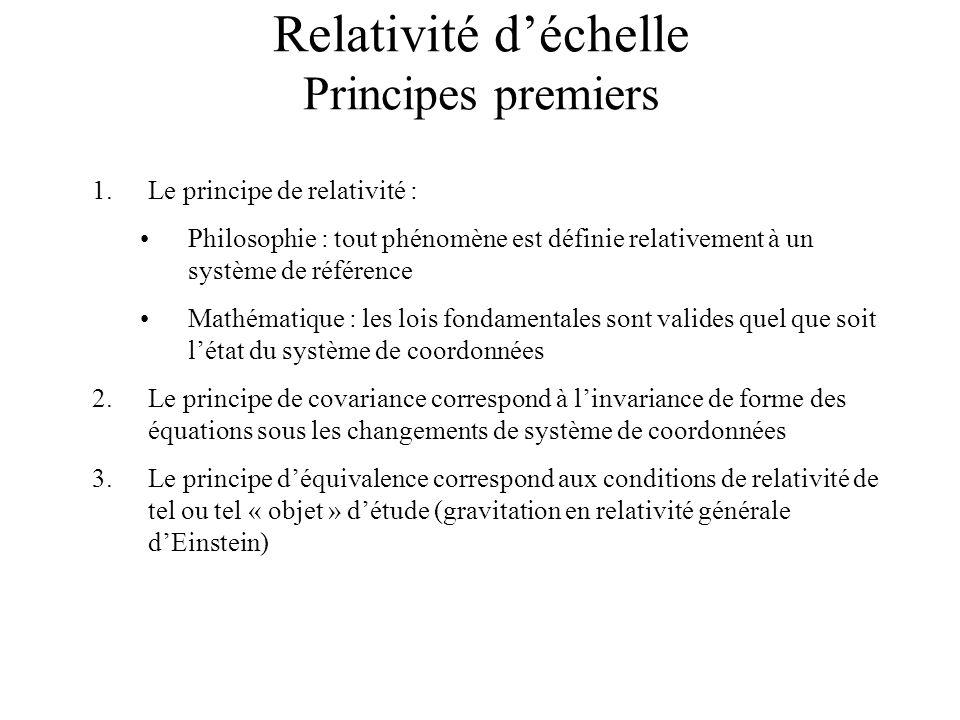 Relativité d'échelle Principes premiers
