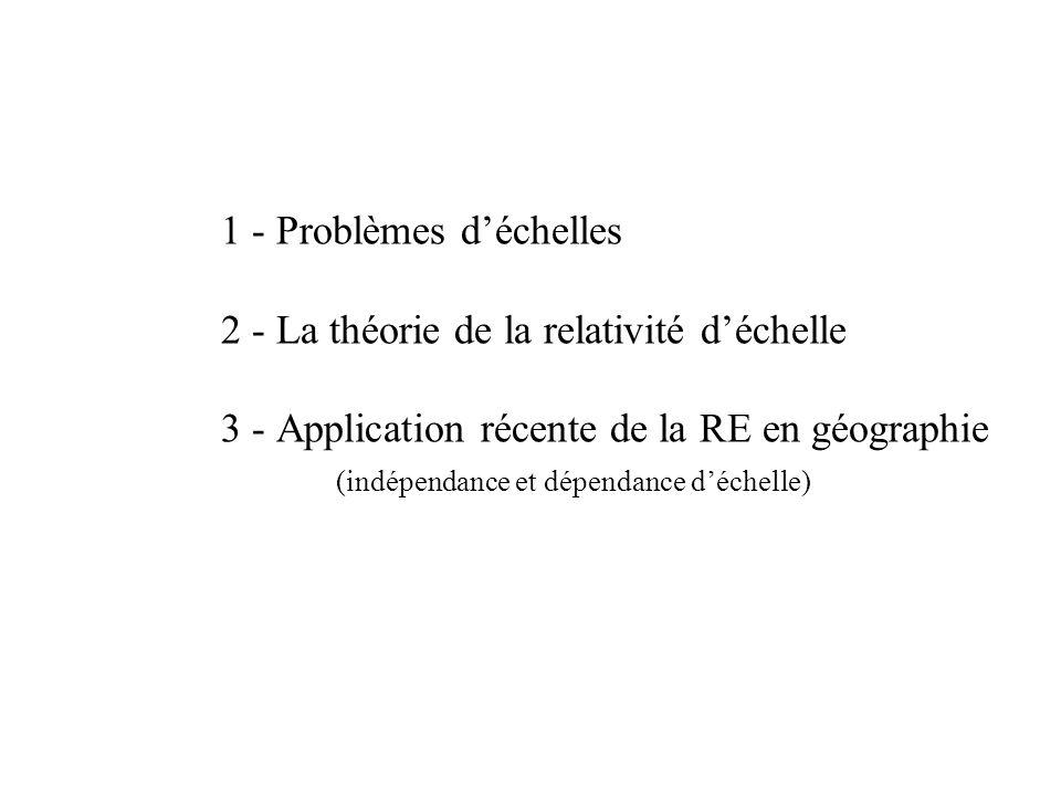 1 - Problèmes d'échelles 2 - La théorie de la relativité d'échelle 3 - Application récente de la RE en géographie (indépendance et dépendance d'échelle)
