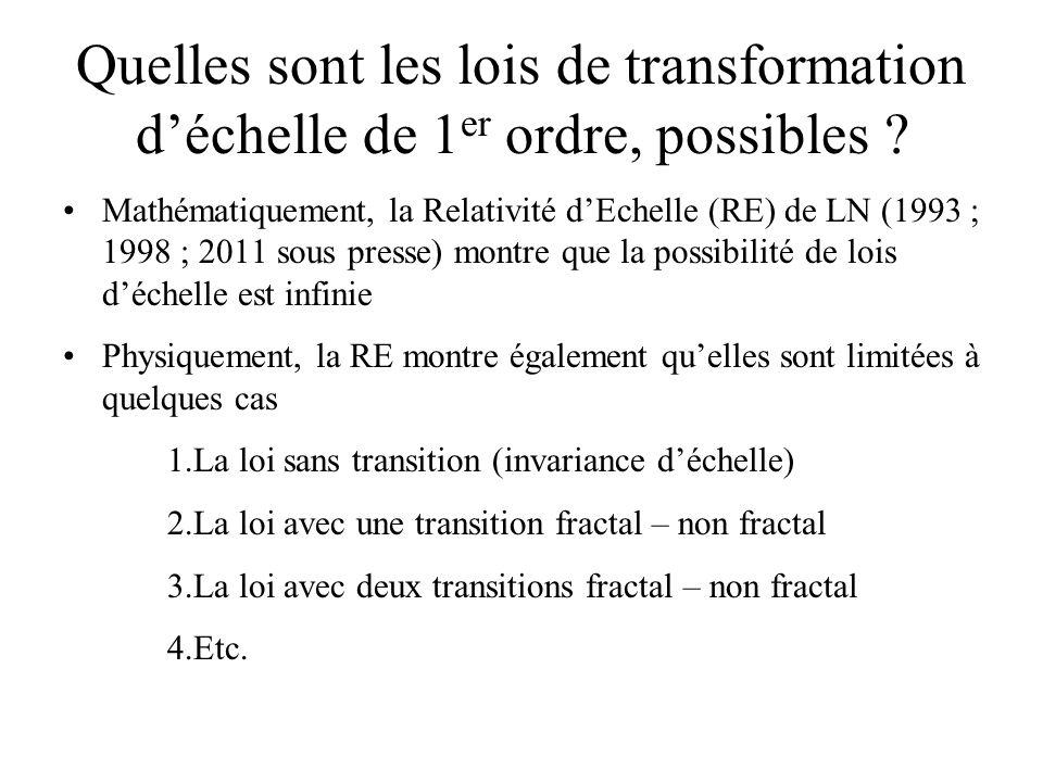 Quelles sont les lois de transformation d'échelle de 1er ordre, possibles