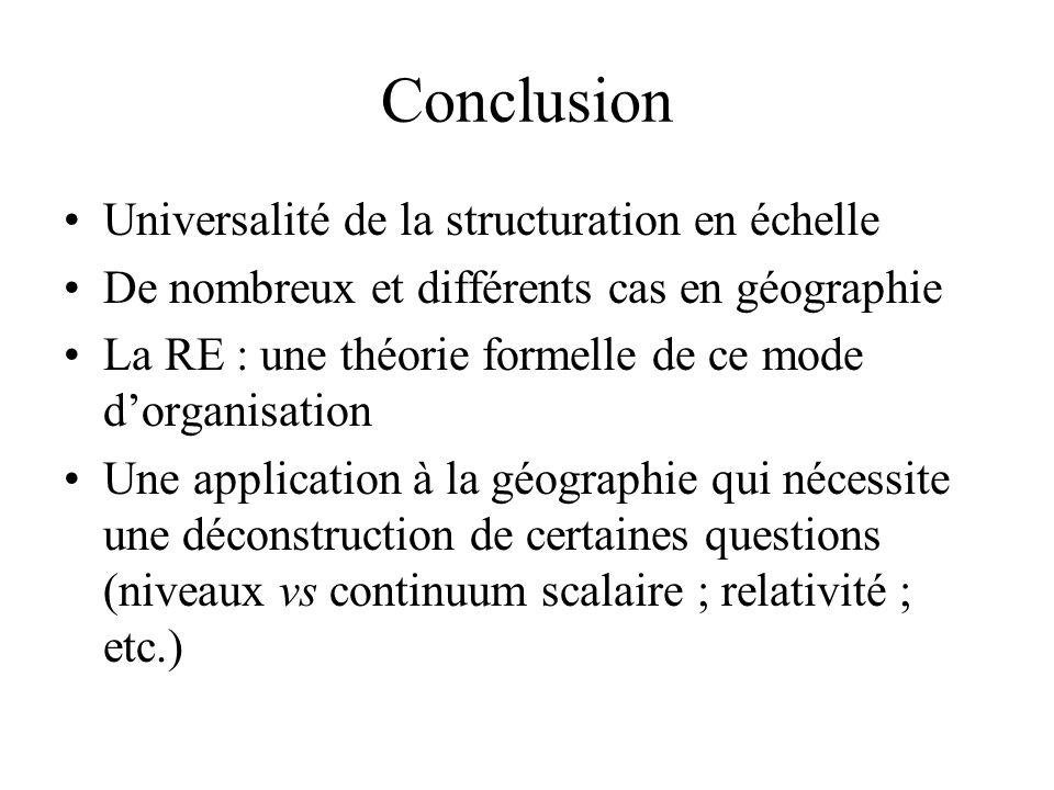Conclusion Universalité de la structuration en échelle