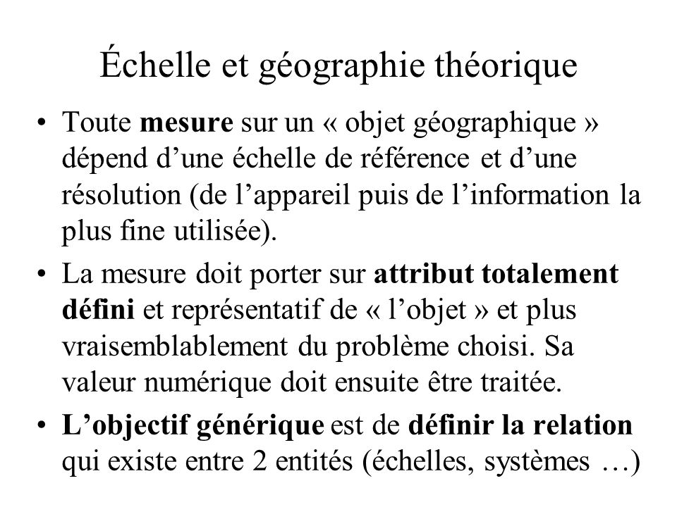 Échelle et géographie théorique