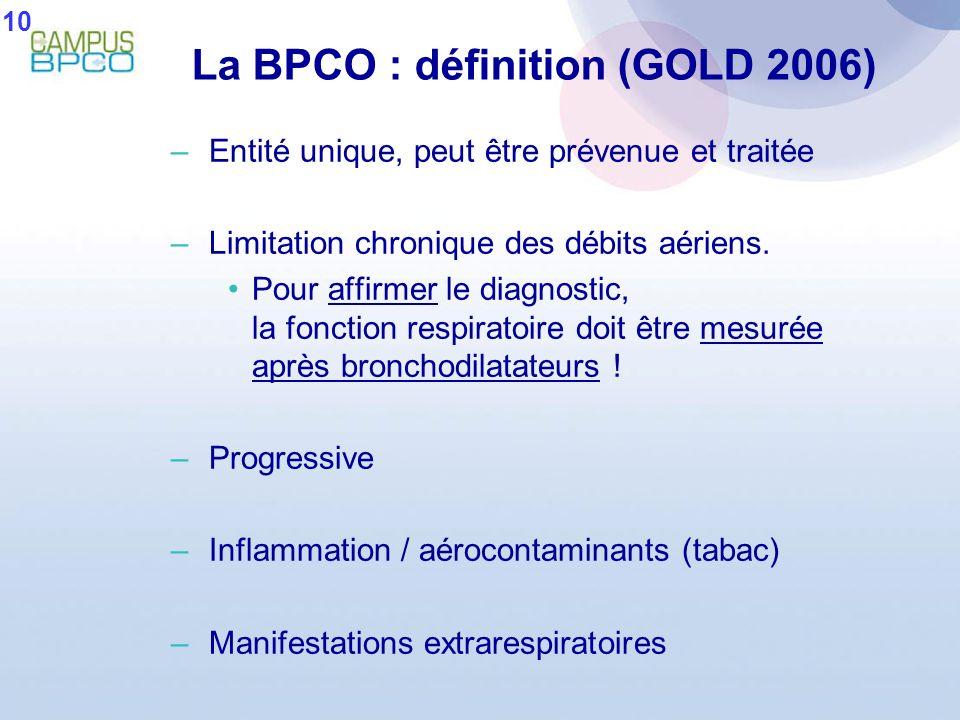 La BPCO : définition (GOLD 2006)