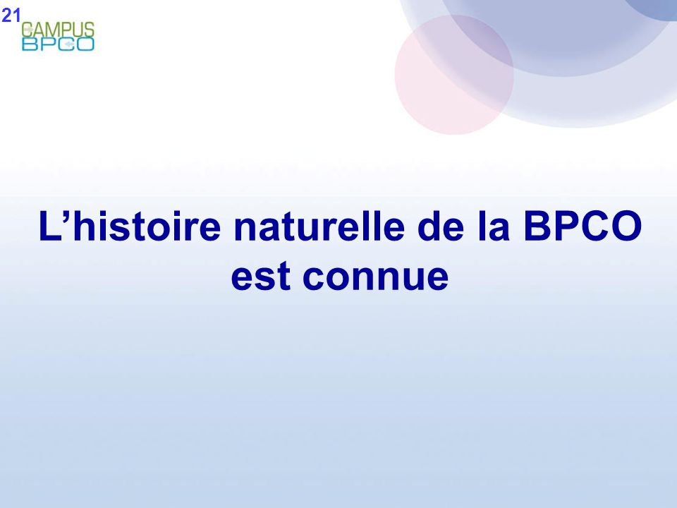 L'histoire naturelle de la BPCO est connue