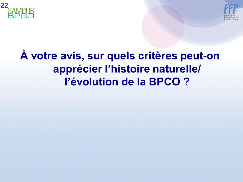 22 À votre avis, sur quels critères peut-on apprécier l'histoire naturelle/ l'évolution de la BPCO
