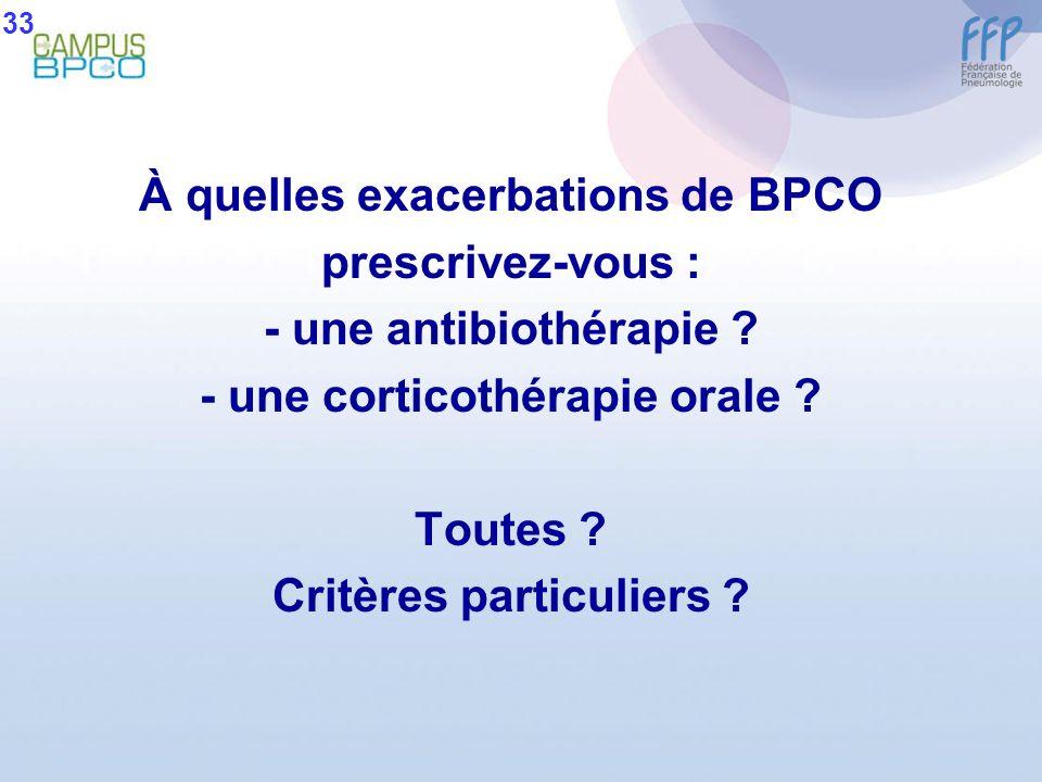 À quelles exacerbations de BPCO prescrivez-vous :