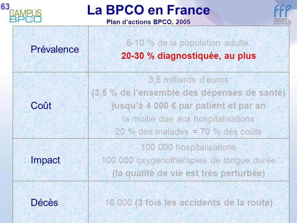La BPCO en France Plan d'actions BPCO, 2005