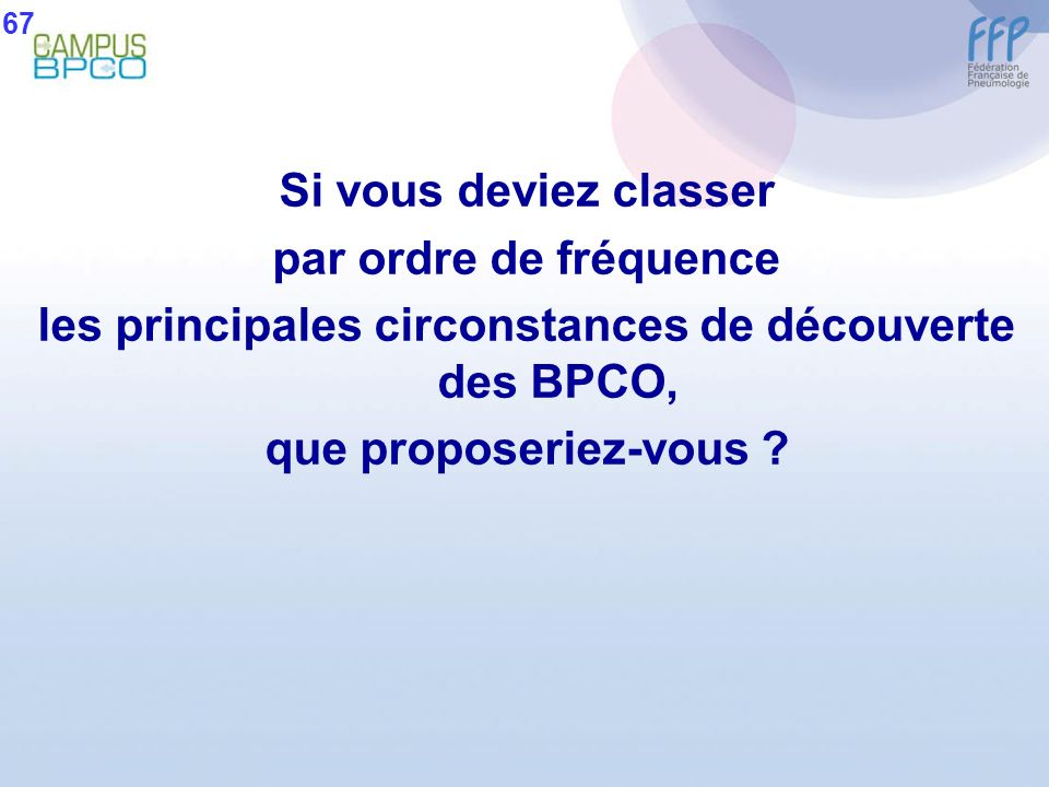 les principales circonstances de découverte des BPCO,