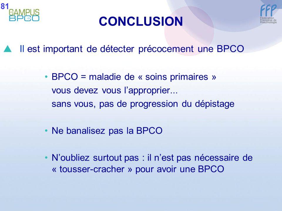 CONCLUSION Il est important de détecter précocement une BPCO
