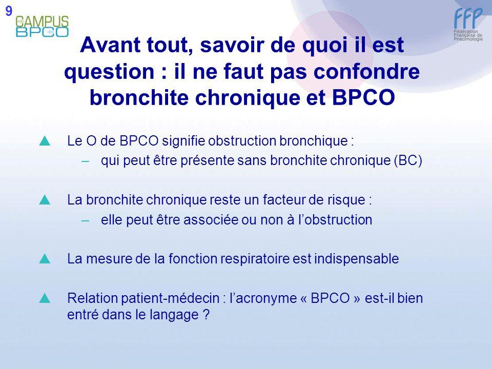 9 Avant tout, savoir de quoi il est question : il ne faut pas confondre bronchite chronique et BPCO.