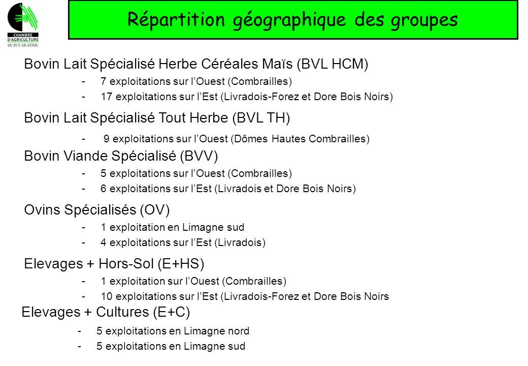 Répartition géographique des groupes