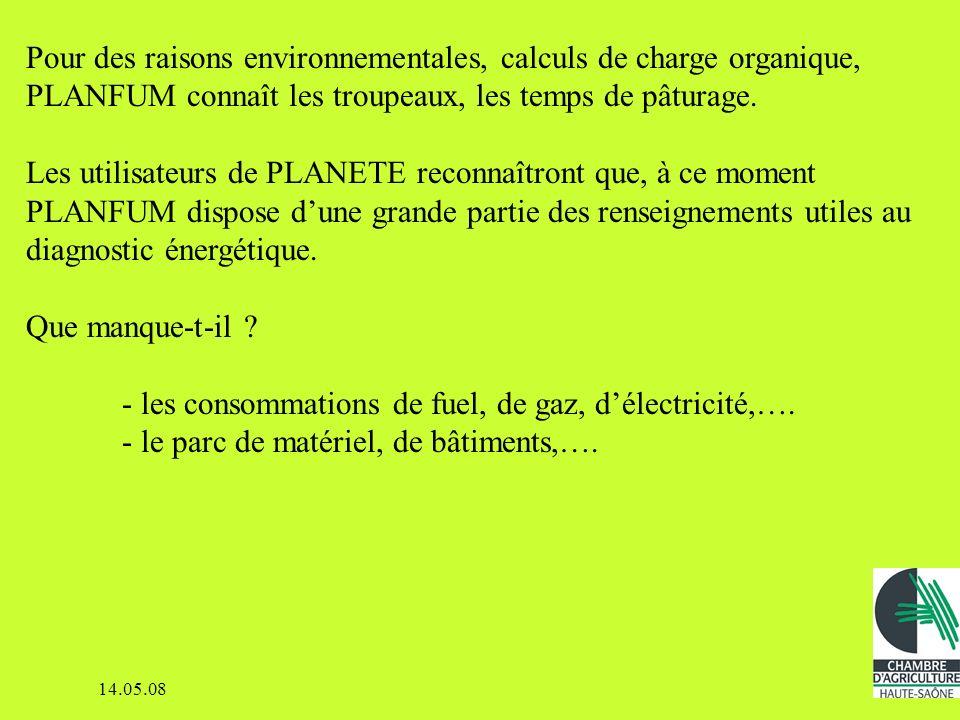 Pour des raisons environnementales, calculs de charge organique, PLANFUM connaît les troupeaux, les temps de pâturage.