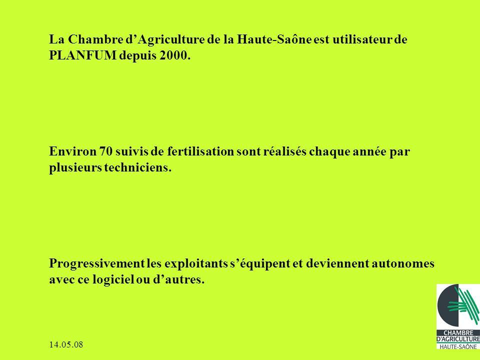 La Chambre d'Agriculture de la Haute-Saône est utilisateur de PLANFUM depuis 2000.