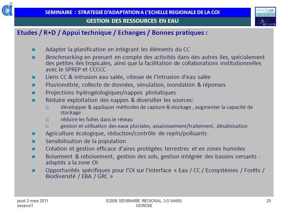 GESTION DES RESSOURCES EN EAU