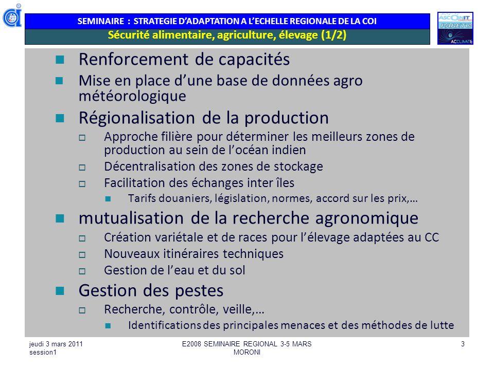 Sécurité alimentaire, agriculture, élevage (1/2)