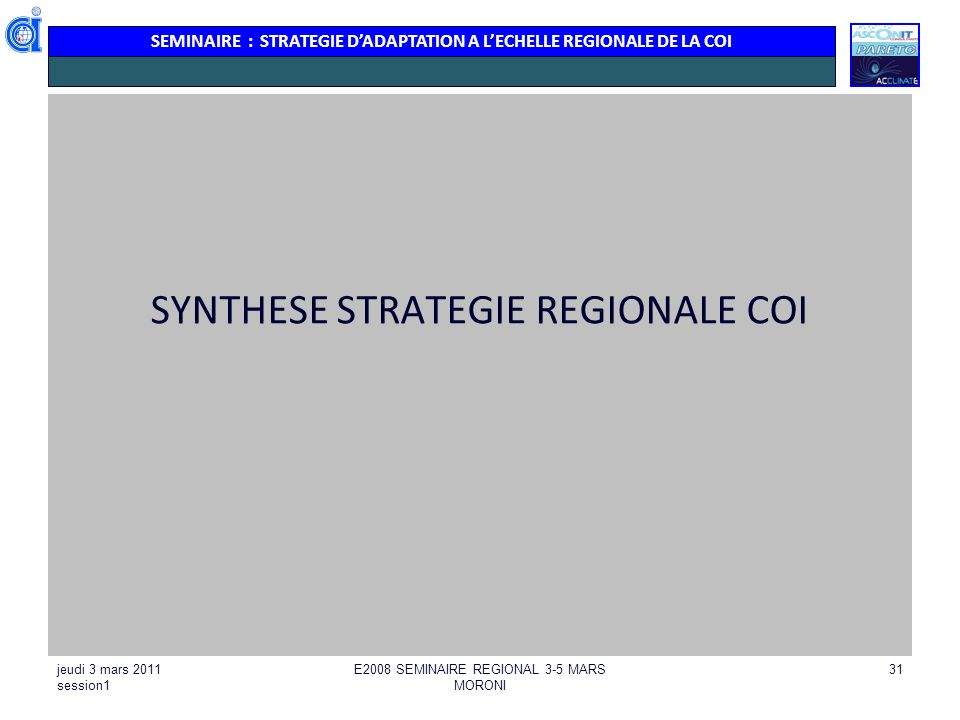 SYNTHESE STRATEGIE REGIONALE COI