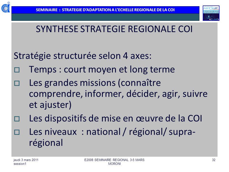 SYNTHESE STRATEGIE REGIONALE COI Stratégie structurée selon 4 axes: