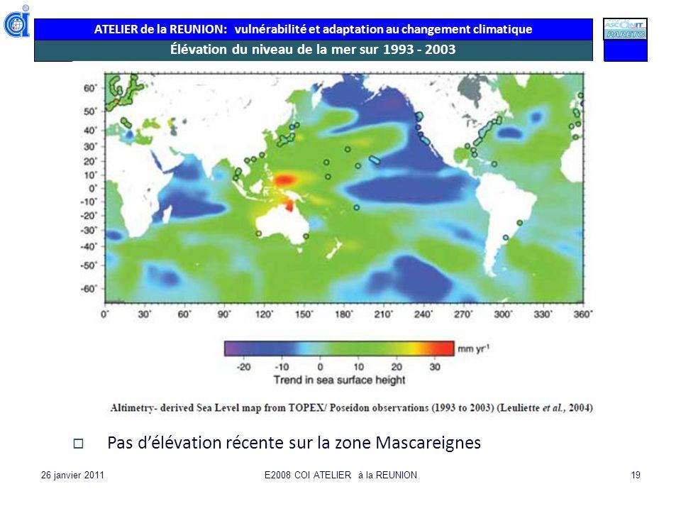 Élévation du niveau de la mer sur 1993 - 2003
