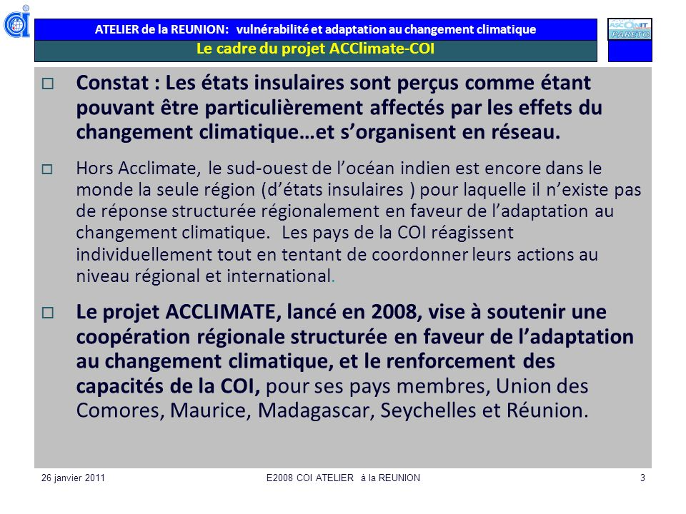 Le cadre du projet ACClimate-COI