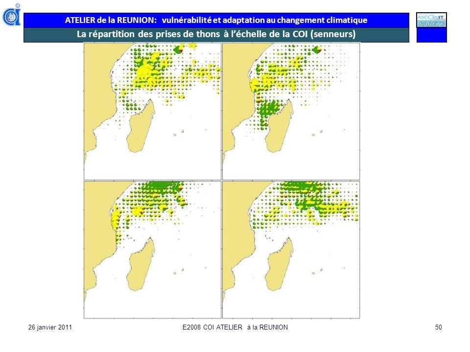 La répartition des prises de thons à l'échelle de la COI (senneurs)