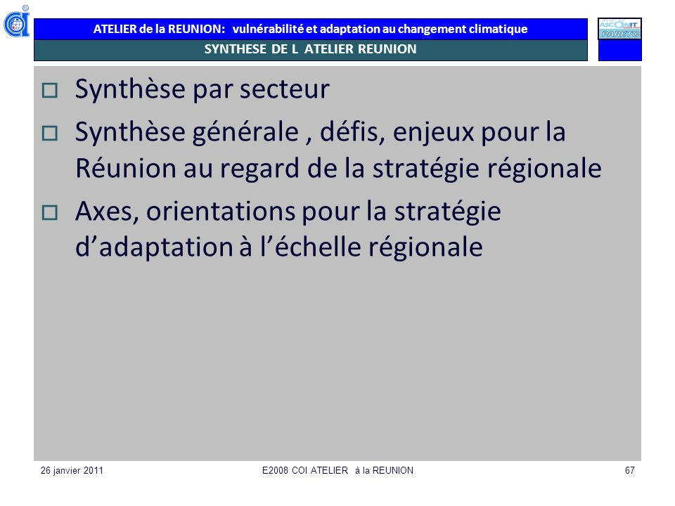 SYNTHESE DE L ATELIER REUNION
