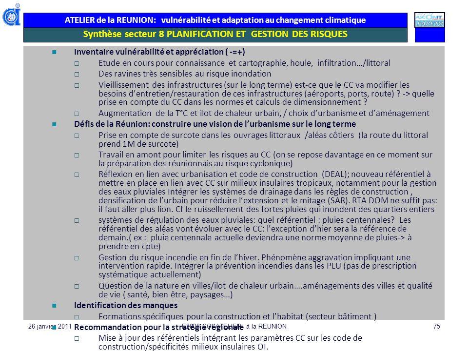 Synthèse secteur 8 PLANIFICATION ET GESTION DES RISQUES