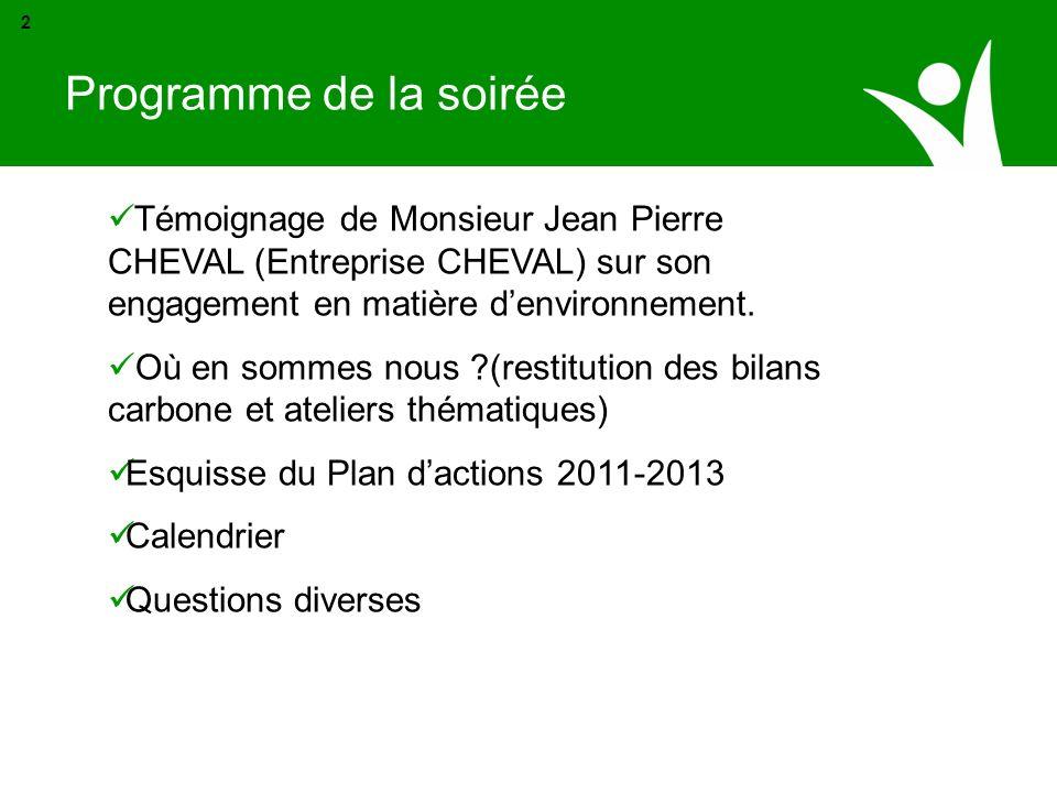 Programme de la soirée2. Témoignage de Monsieur Jean Pierre CHEVAL (Entreprise CHEVAL) sur son engagement en matière d'environnement.