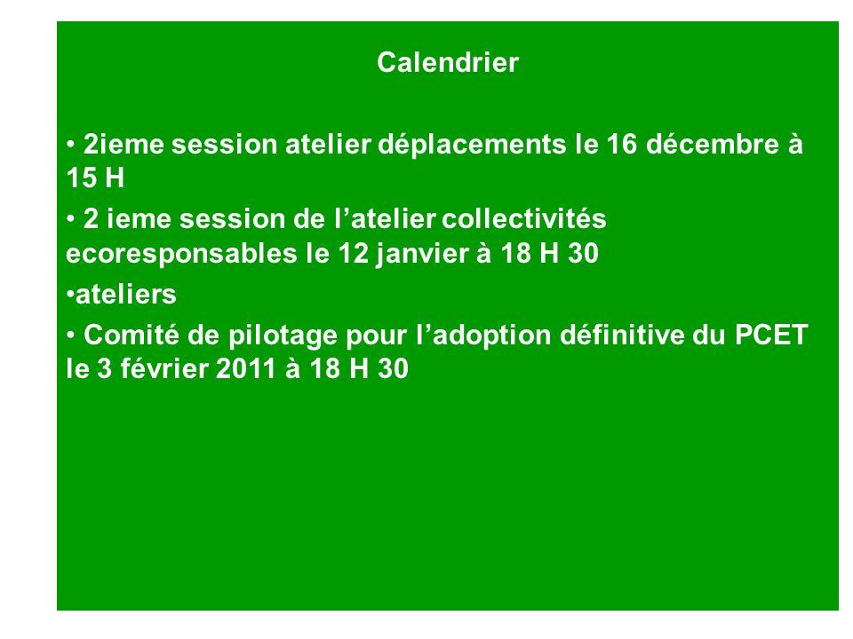 Calendrier 2ieme session atelier déplacements le 16 décembre à 15 H.