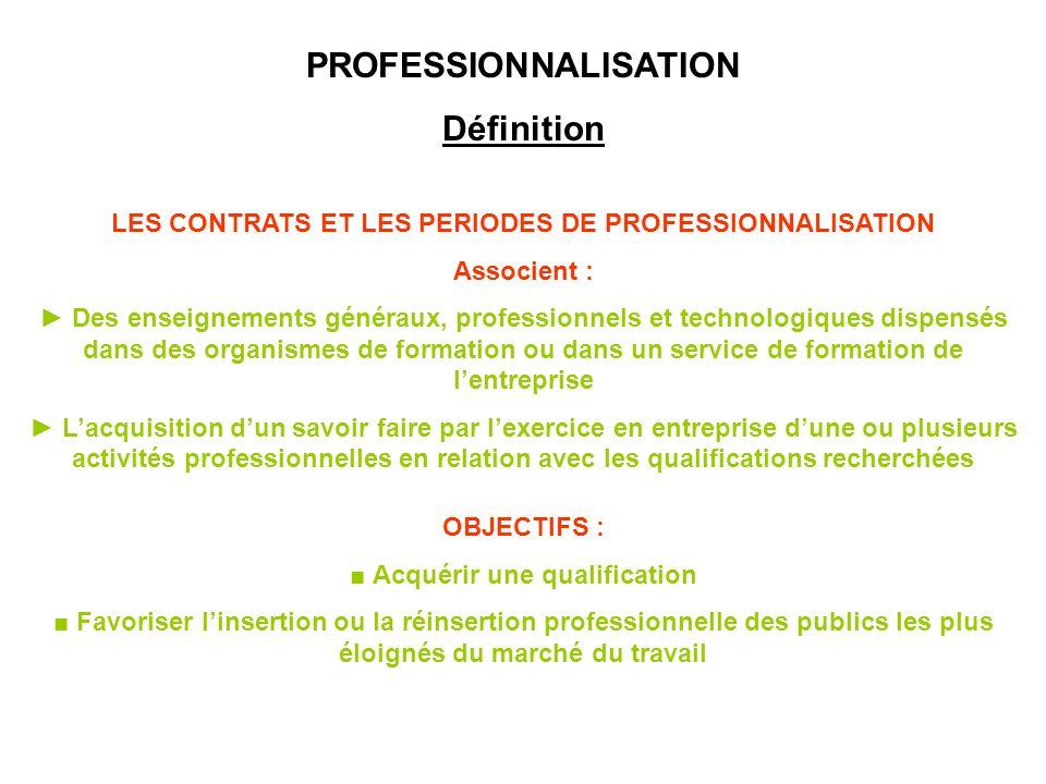 PROFESSIONNALISATION Définition
