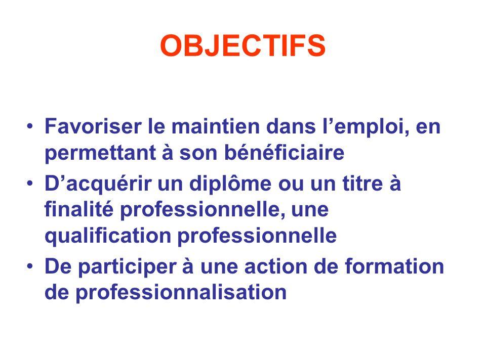 OBJECTIFS Favoriser le maintien dans l'emploi, en permettant à son bénéficiaire.