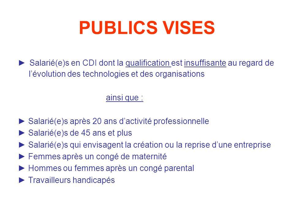 PUBLICS VISES ► Salarié(e)s en CDI dont la qualification est insuffisante au regard de l'évolution des technologies et des organisations.