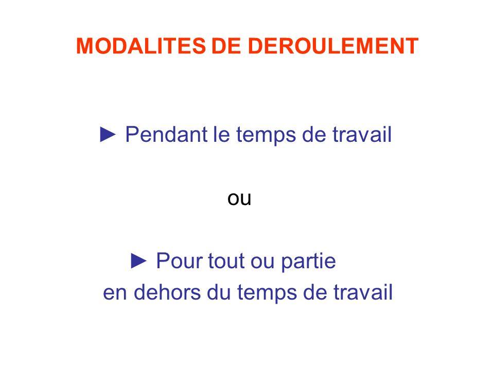MODALITES DE DEROULEMENT