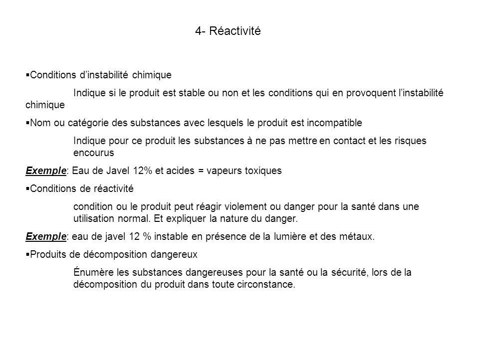 4- Réactivité Conditions d'instabilité chimique