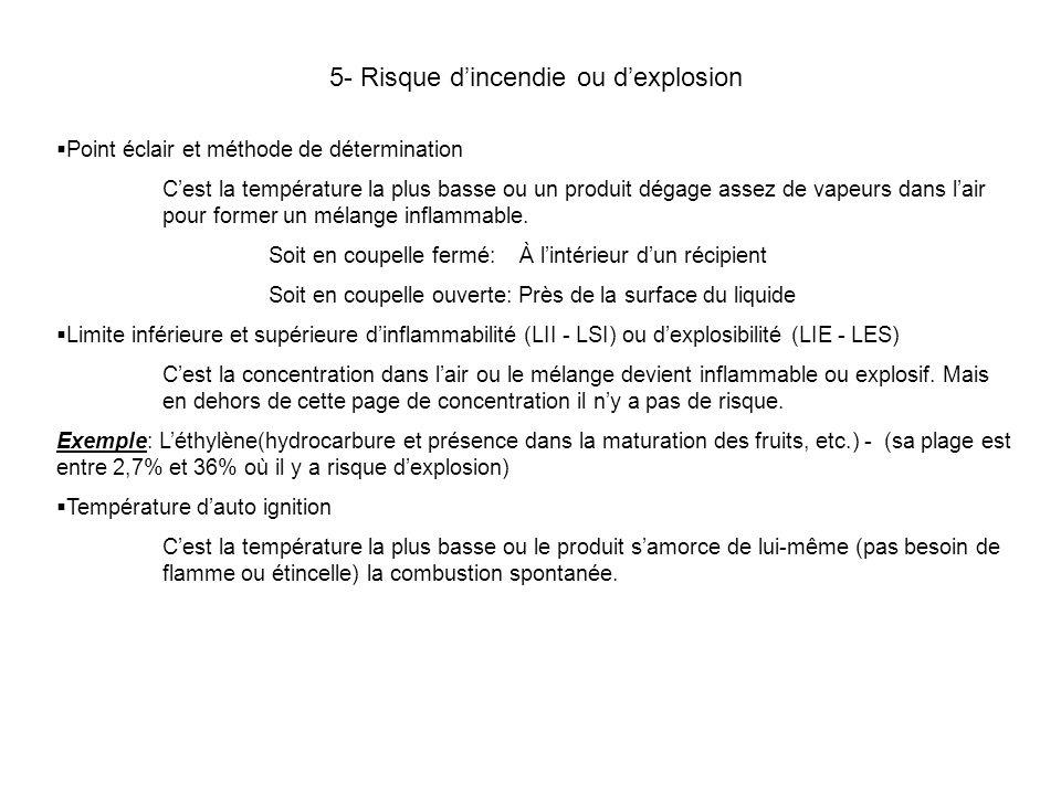 5- Risque d'incendie ou d'explosion
