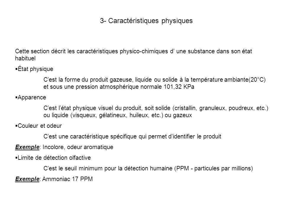 3- Caractéristiques physiques
