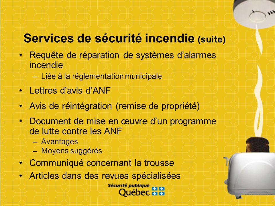Services de sécurité incendie (suite)